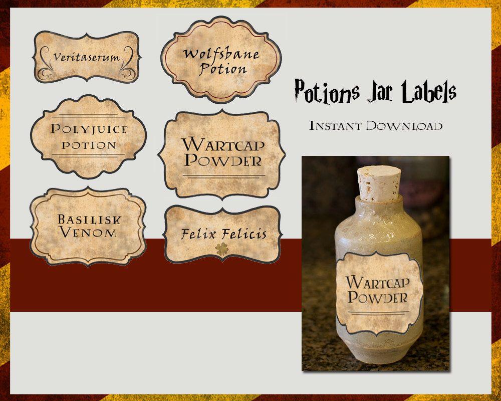 Harry Potter Potions Labels Digital File Por TLCArts En Etsy