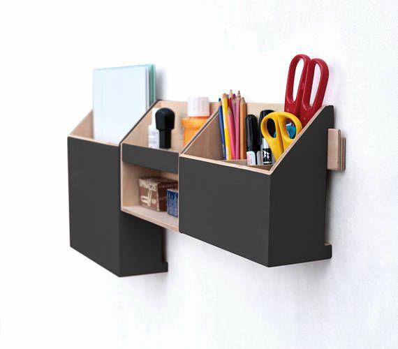 Wall Organizer Black, Mail Organizer, Wall Hanging Pen Holder, Wall Holder,  Home Office Black Office Set, Wood Desk Organizer, Black Decor