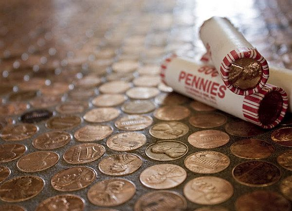 Copper Penny Flooring Made Easy Cheap Bathroom Flooringdiy Flooringflooring Ideasflooring
