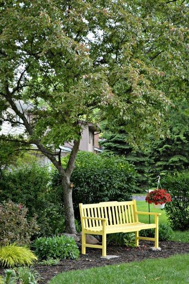 A Sunny Yellow Bench For The Front Yard Outdoor Garden Bench
