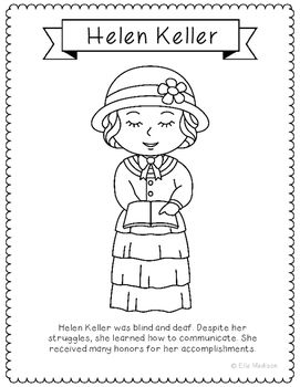 Helen Keller Coloring Page Craft Or Poster With Mini Biography