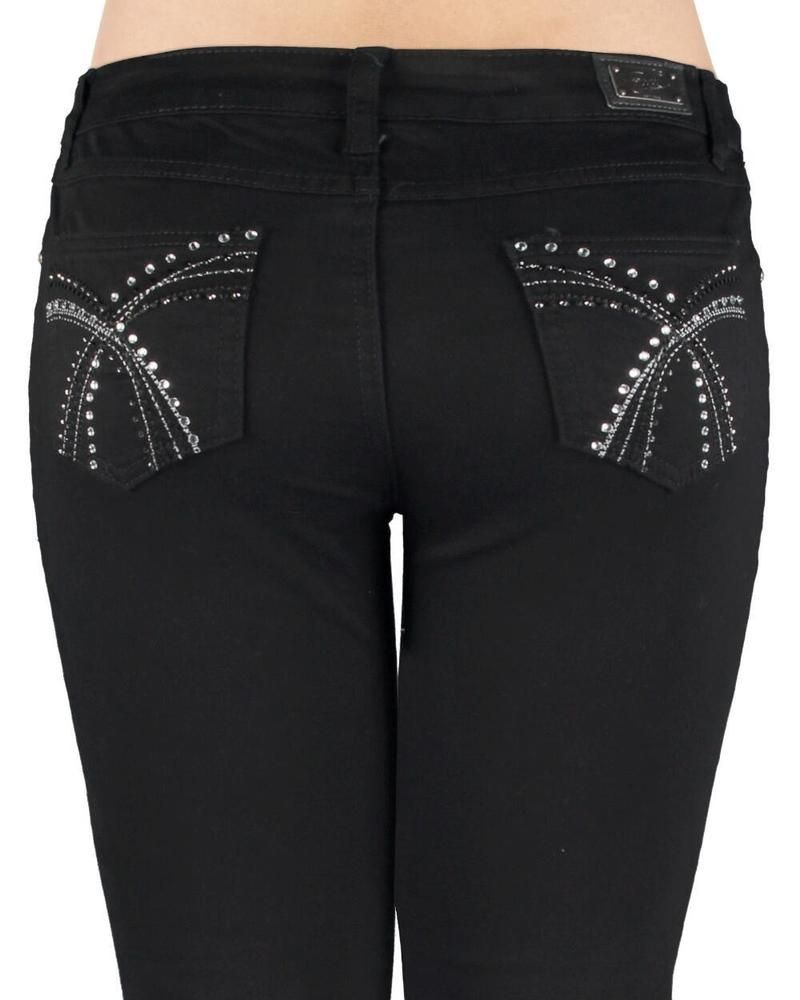6b67e0b96e4 Woman s Miss EARL JEANS Size 16W Black Bling Me Rhinestone Stud Skinny  Sexy!  EarlJeans  Skinny