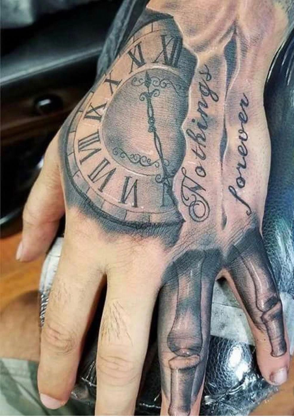 Time Hand Tattoos For Men In 2020 Hand Tattoos For Guys Hand Tattoos Skull Hand Tattoo