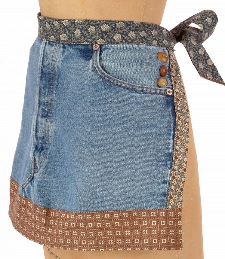 Upcycled Jean Front Apron (Free Sewing Pattern) is part of Upcycled Crafts Awesome Blue Jeans - Do it your way and assemble a medley of favorite fabrics, a few special buttons and the front of an old pair of jeans to create this easytomake piece