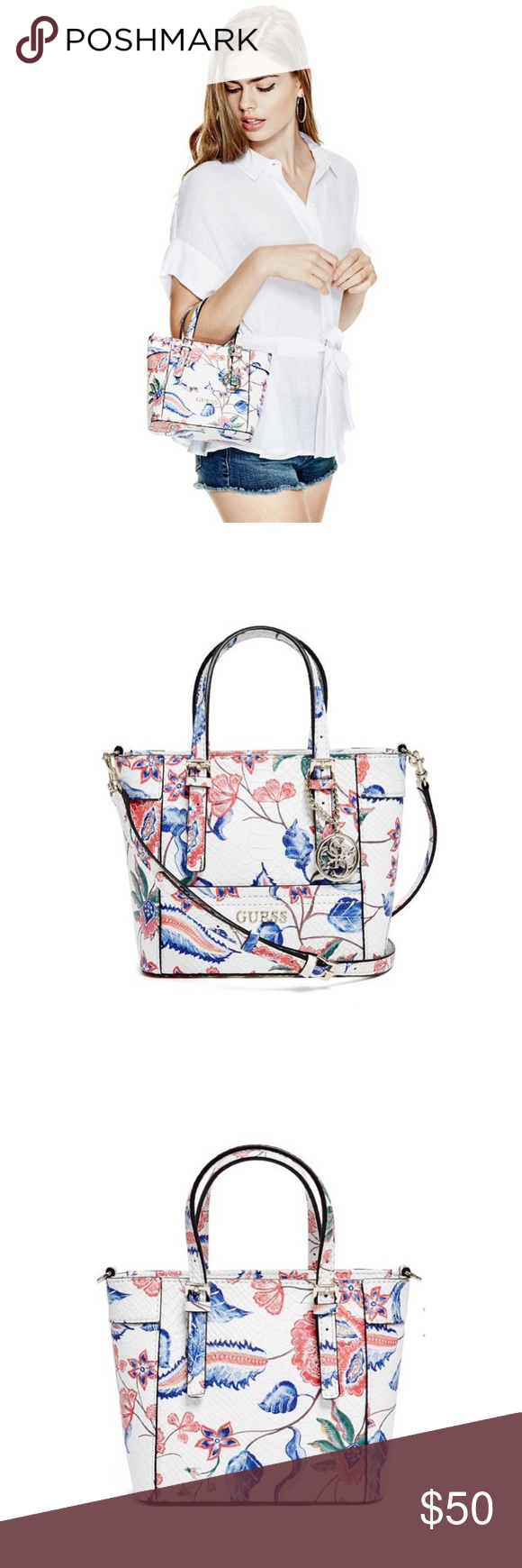 🆕Guess Delaney Floral Mini Tote Popular Guess mini floral small tote.  Currently out of stock. Brand New! Never worn! Bag details are located in  last ... b42d17e6f4e0e