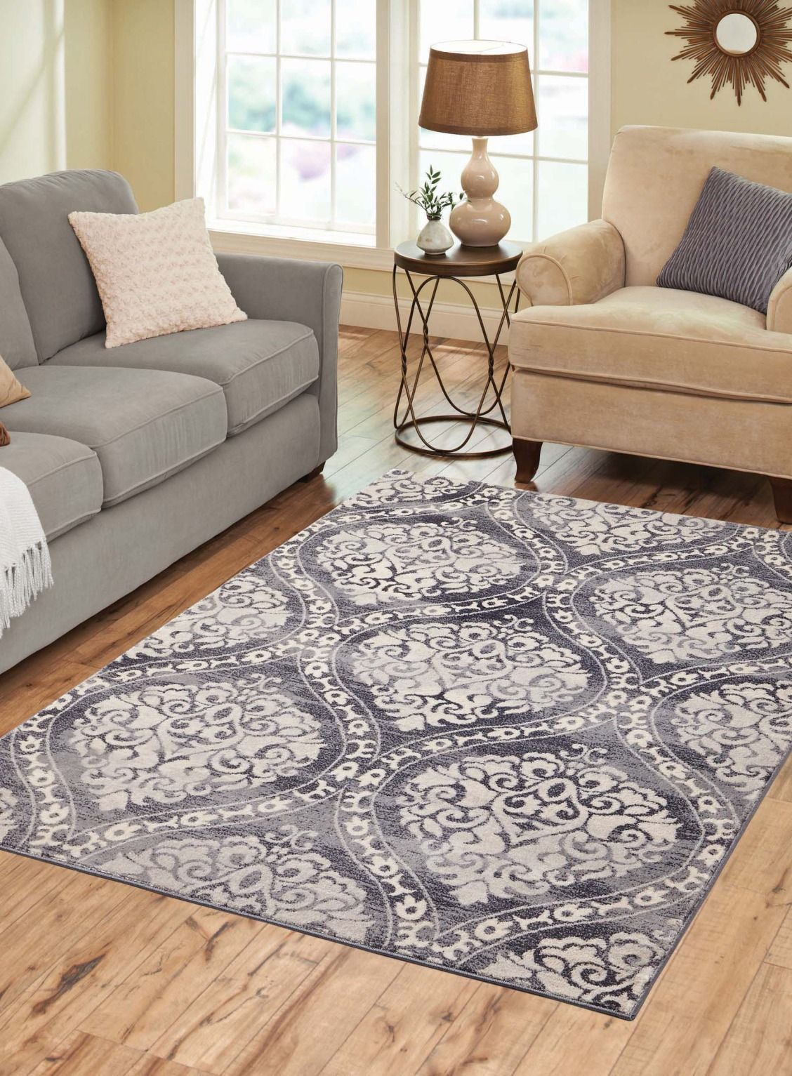 Gray Distressed Ogee Area Rug 5 X7