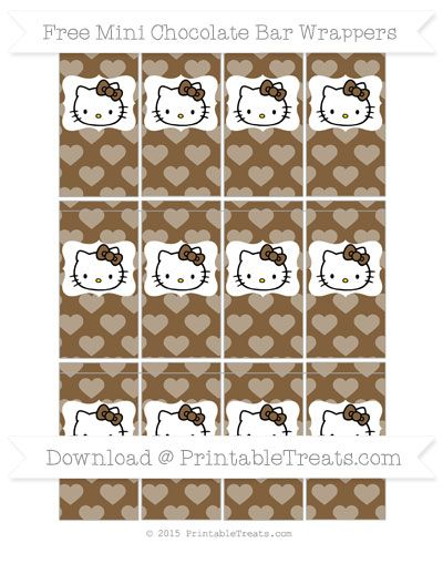 Free Coyote Brown Heart Pattern Hello Kitty Mini Chocolate Bar Wrappers