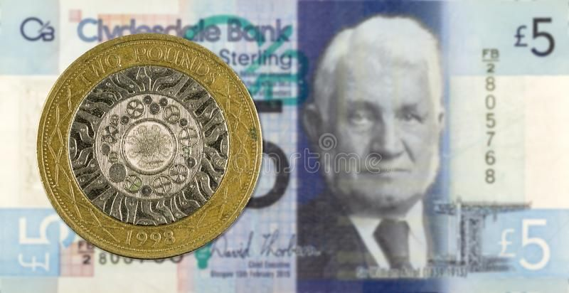 2 Pounds Coin Against 5 Pounds Sterling Note Issued By Clydesdale
