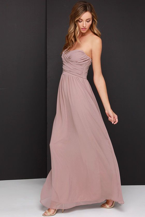 Royal Engagement Strapless Taupe Maxi Dress | Taupe, Maxi dresses ...
