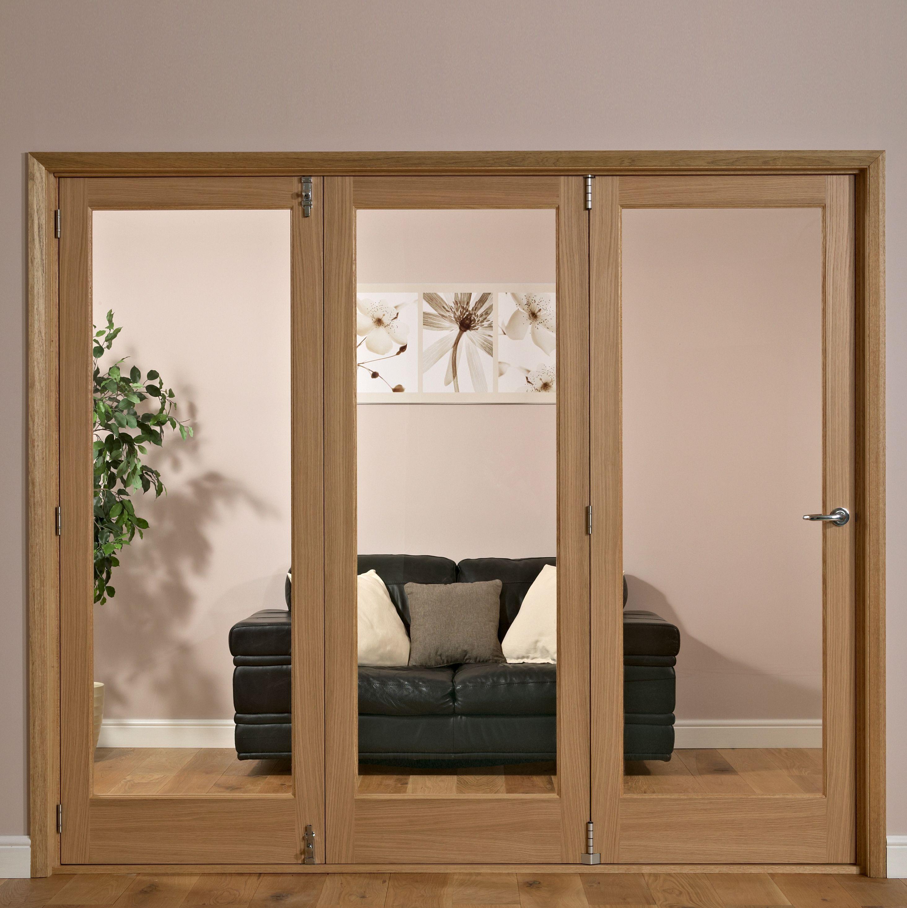 1 Panel Shaker Lite Oak Veneer Glazed Internal Folding Door Lh H 2035mm W 2146mm