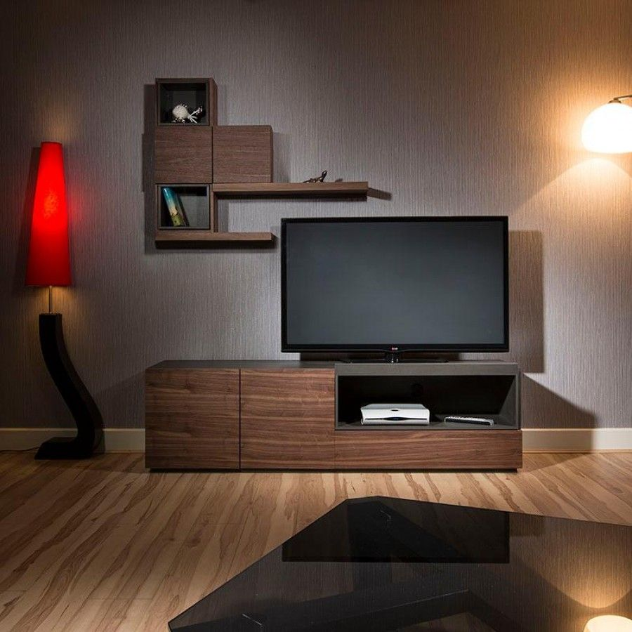 Modern TV Cabinet/stand And Wall Unit/shelves Walnut/grey