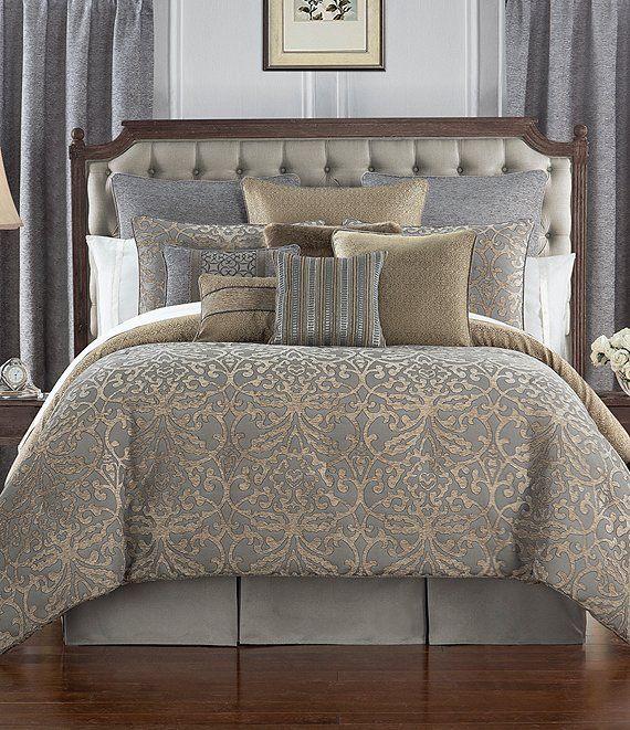 Photo of Waterford Carrick Scroll Damask Jacquard & Chenille Comforter Set | Dillard's