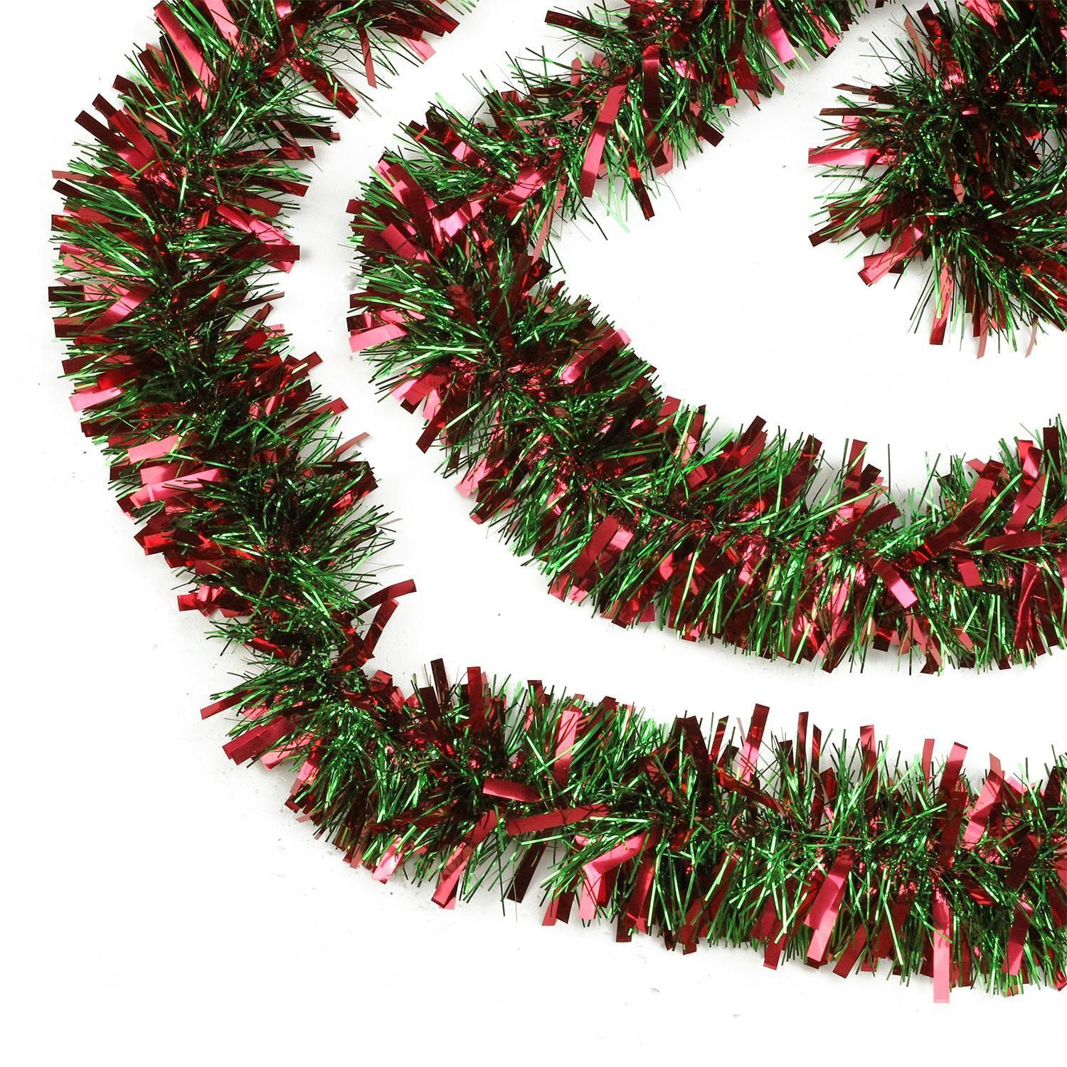 50 Festive Red And Green Thick Cut Christmas Tinsel Garland