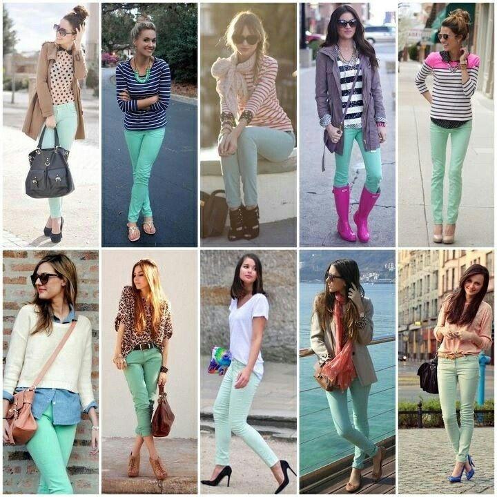 Pin De Vale Cortez Gonzales En Outfits Ropa Verde Menta Jeans De Colores Ropa