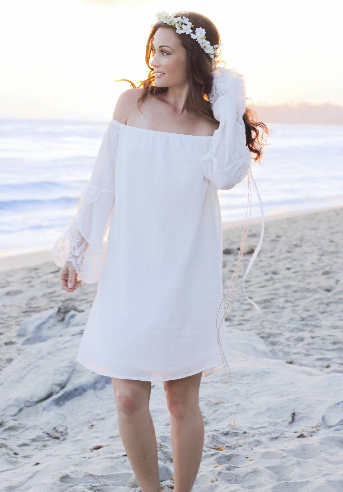 White crinkled cotton gauze off shoulder dress wlace ruffled