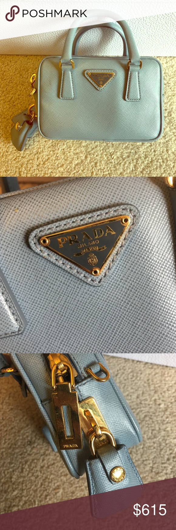 Prada mini bag. Babe blue Prada mini bag. Light blue. Prada Bags Clutches & Wristlets