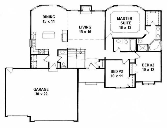 Ranch Home With 3 Bdrms 1508 Sq Ft House Plan 103 1104 House Plans One Story New House Plans Ranch House Plans