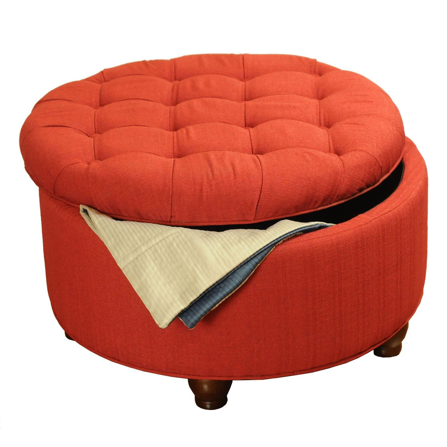 Tremendous Kinfine K6206 F409 Red Tufted Round Cocktail Storage Ottoman Pabps2019 Chair Design Images Pabps2019Com