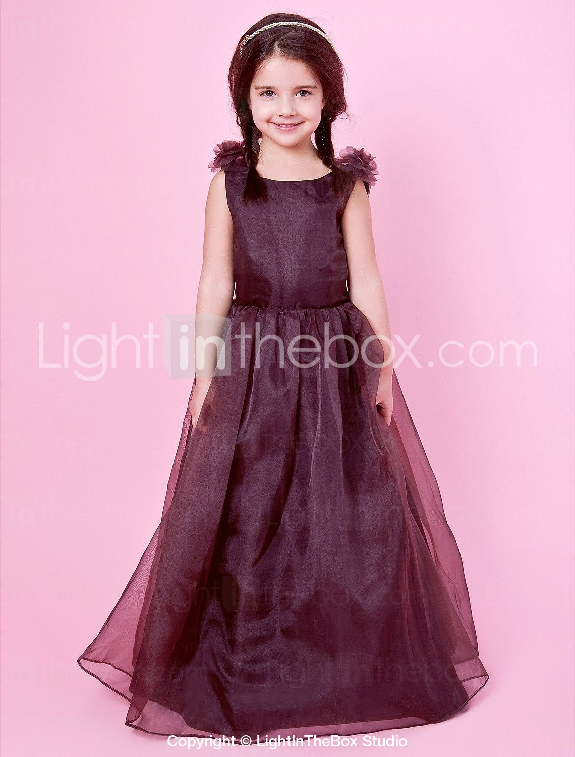 Aline jewel neck organza and satin flower girl dress with bow us