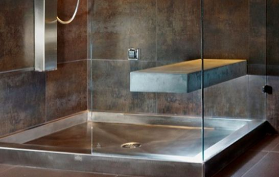 Beautiful Stainless Steel And Copper Shower Pans From Diamond Spas