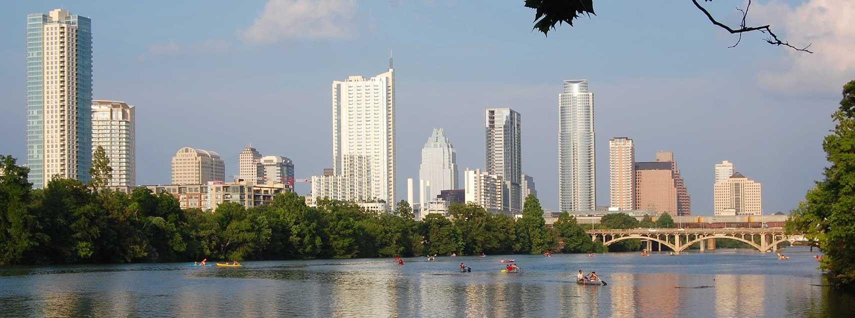 Austin skyline and Lady Bird Lake Austin