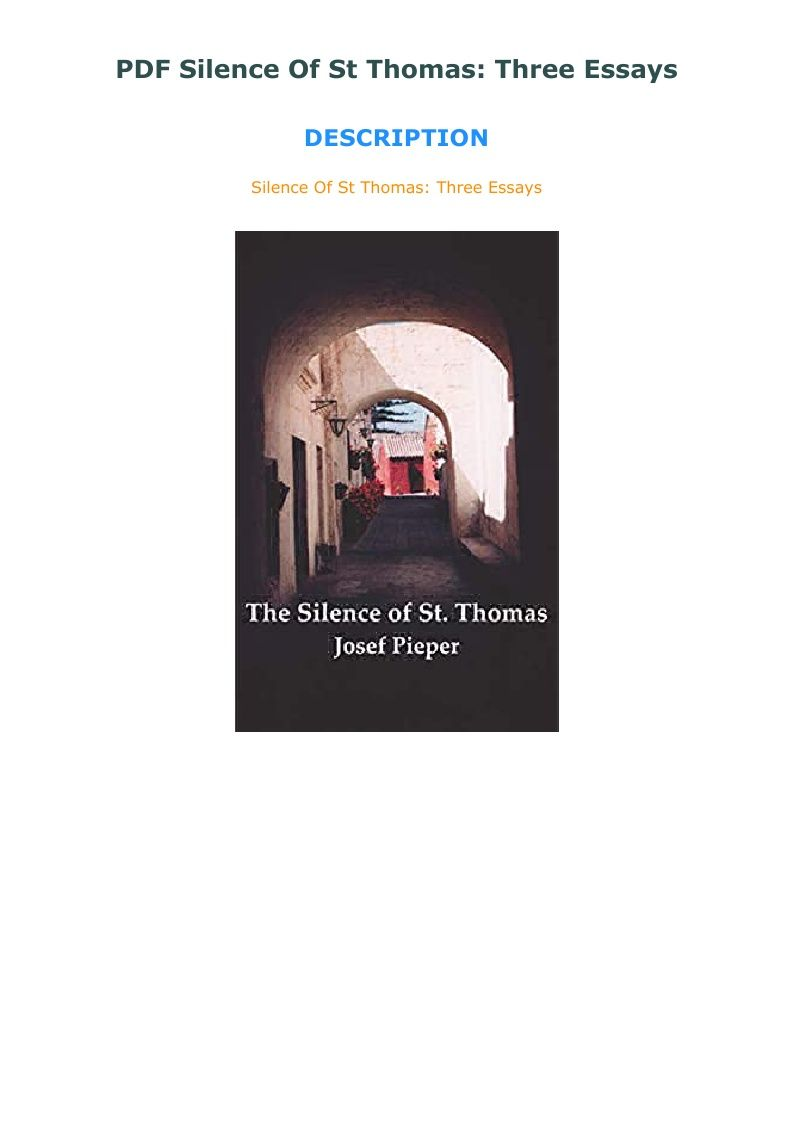 Pdf Silence Of St Thomas Three Essays In 2020 St Thomas Essay Silence