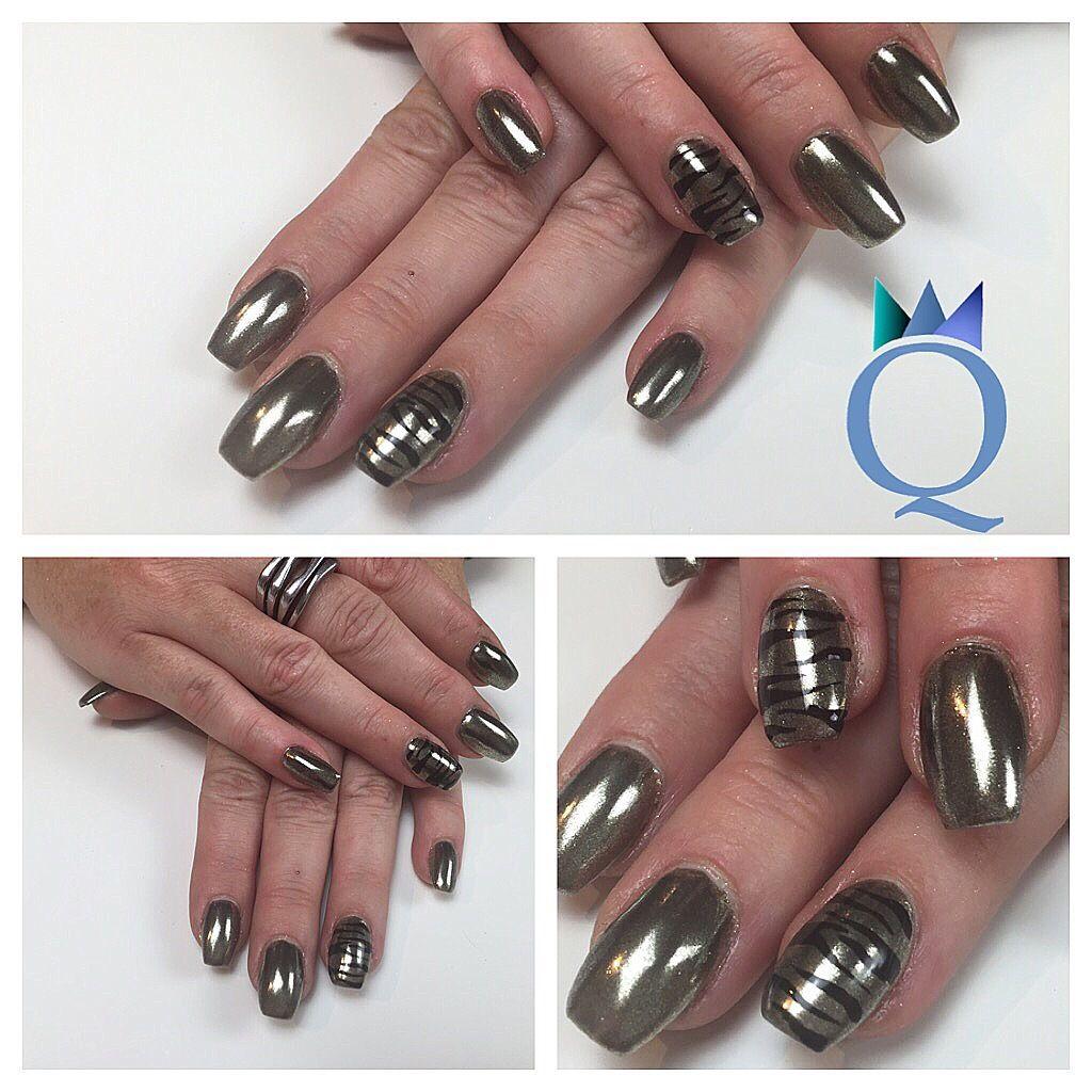 coffinnails ballerinashape nails acrylicnails gold chrome black zebraprint ballerina