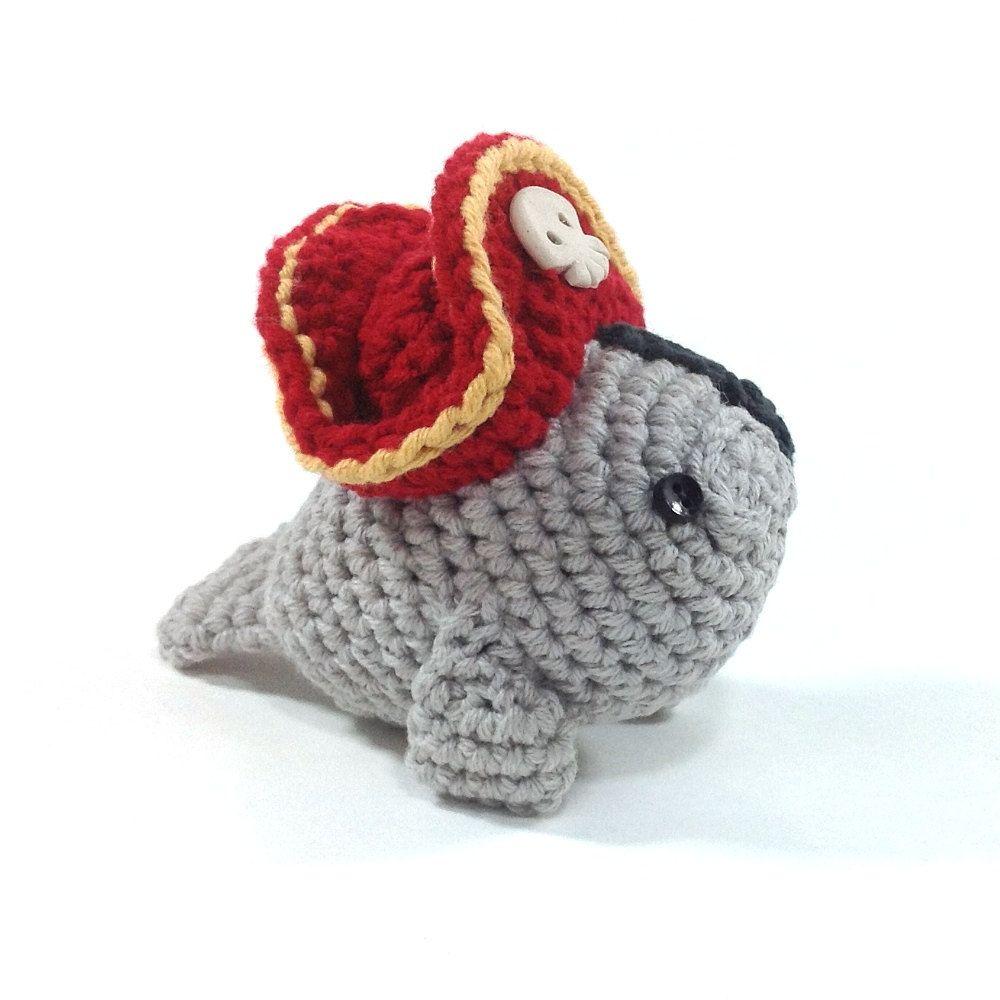 Pirate Manatee, Handmade Amigurumi Toy | Manatee, Amigurumi and Toy
