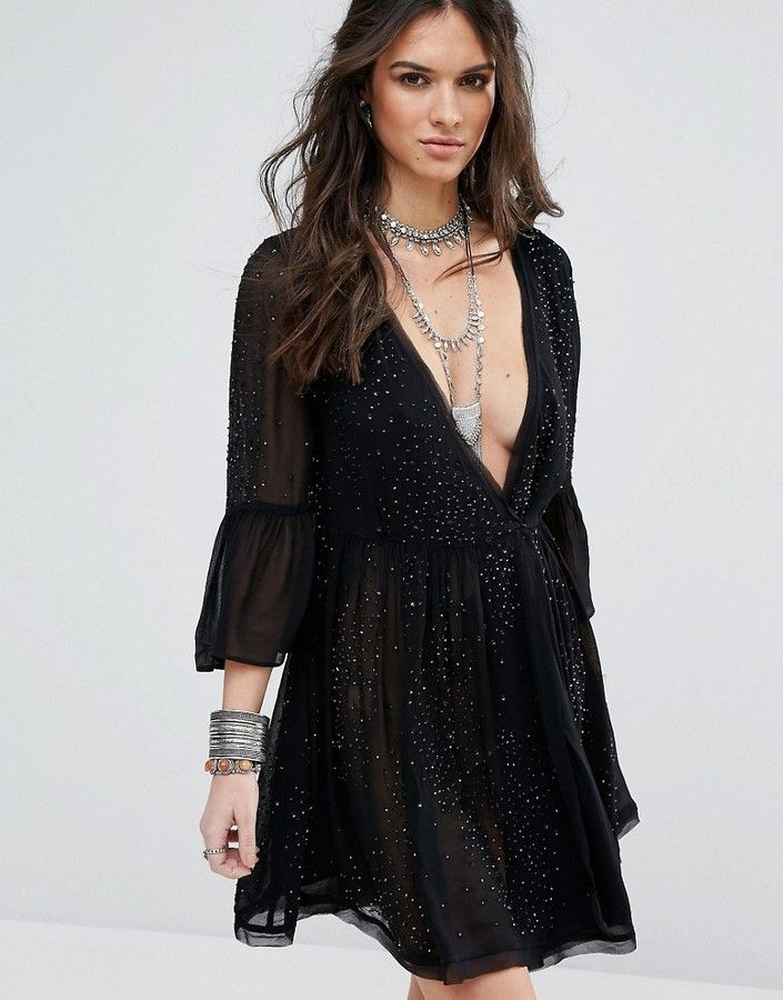 Winter Solstice Embellished Party Dress - Black Free People