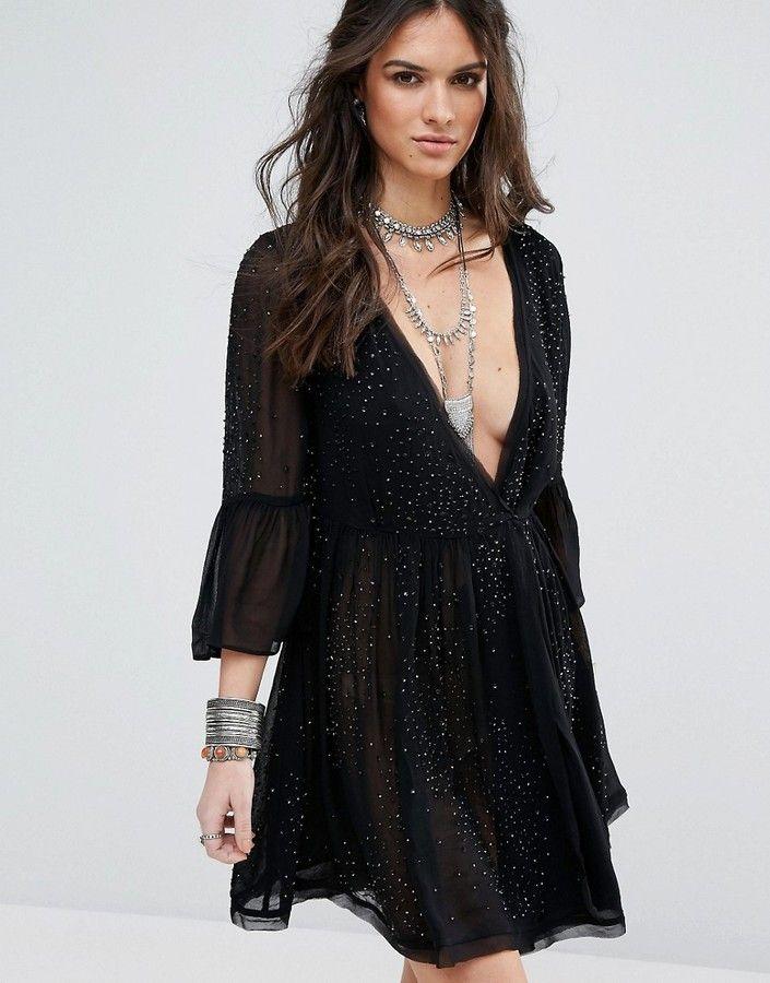 Winter Solstice Embellished Party Dress - Black Free People 3fNm2k