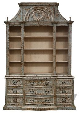 Old World French Style Bookcase Paris, Celeste Distressed With Scrolls traditional-bookcases