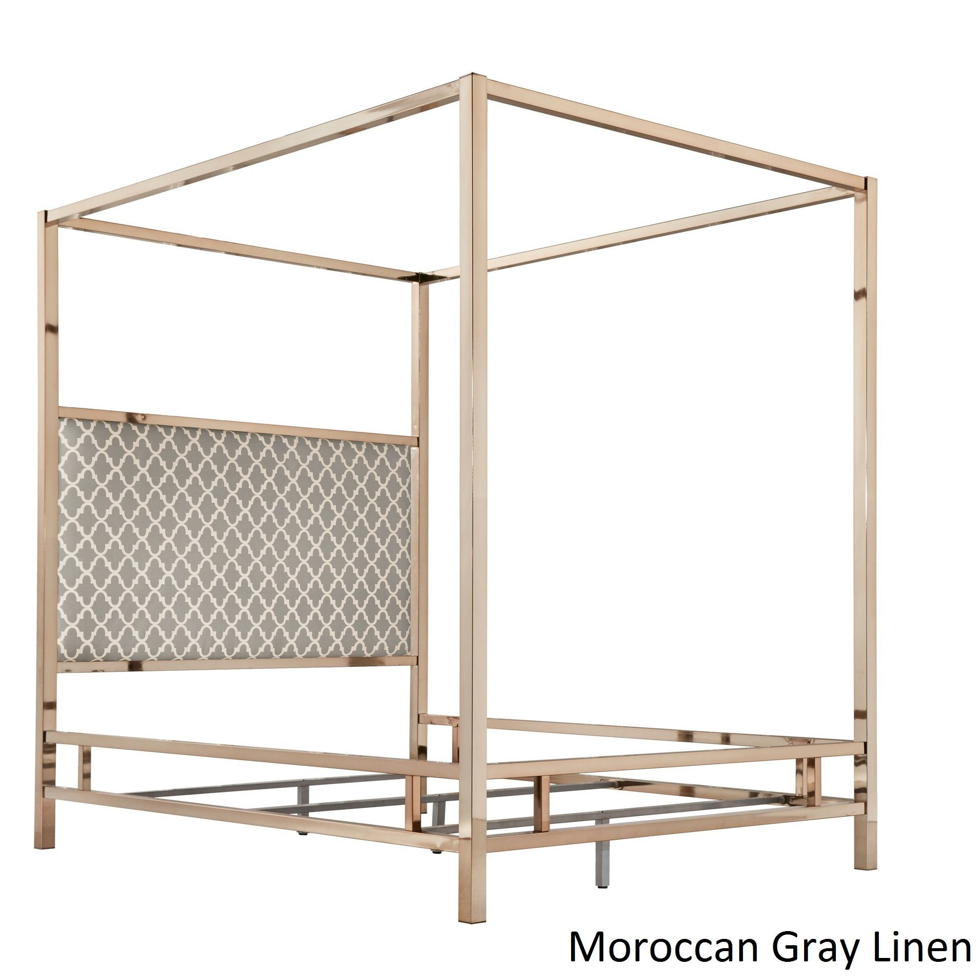 Solivita Full-size Canopy Champagne Gold Metal Poster Bed by Inspire Q ( Moroccan Gray