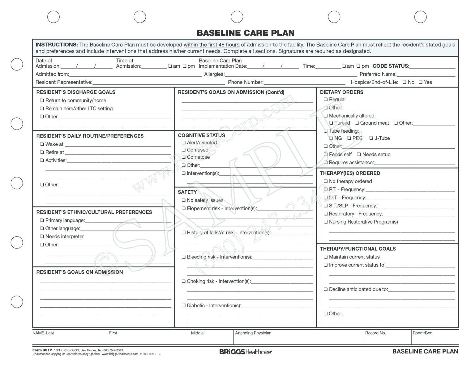 035 Nursing Care Plan Template Forms Baseline Form
