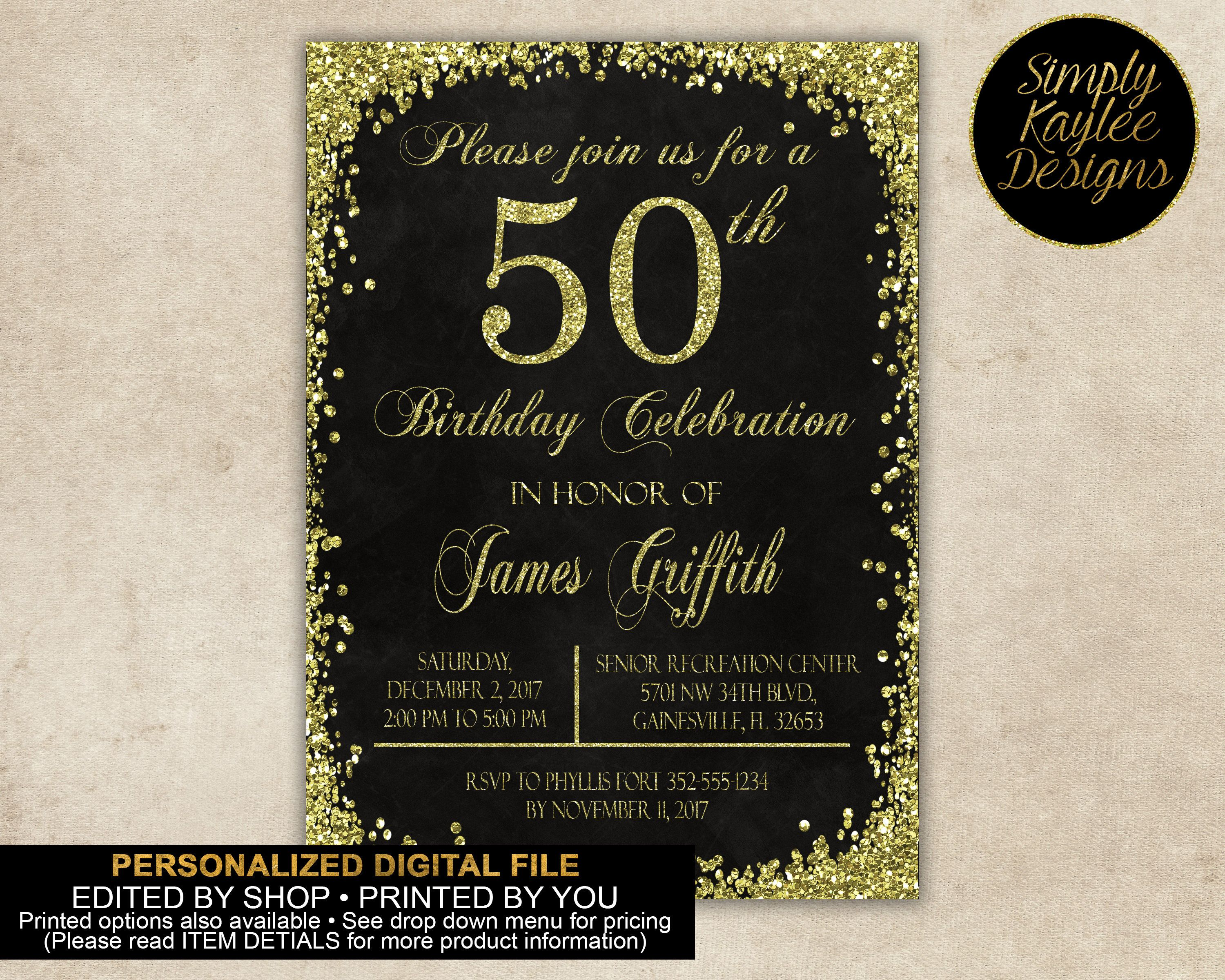 50 Birthday Parties Black And Gold 50th Invitation By SimplyKayleeDesigns On Etsy