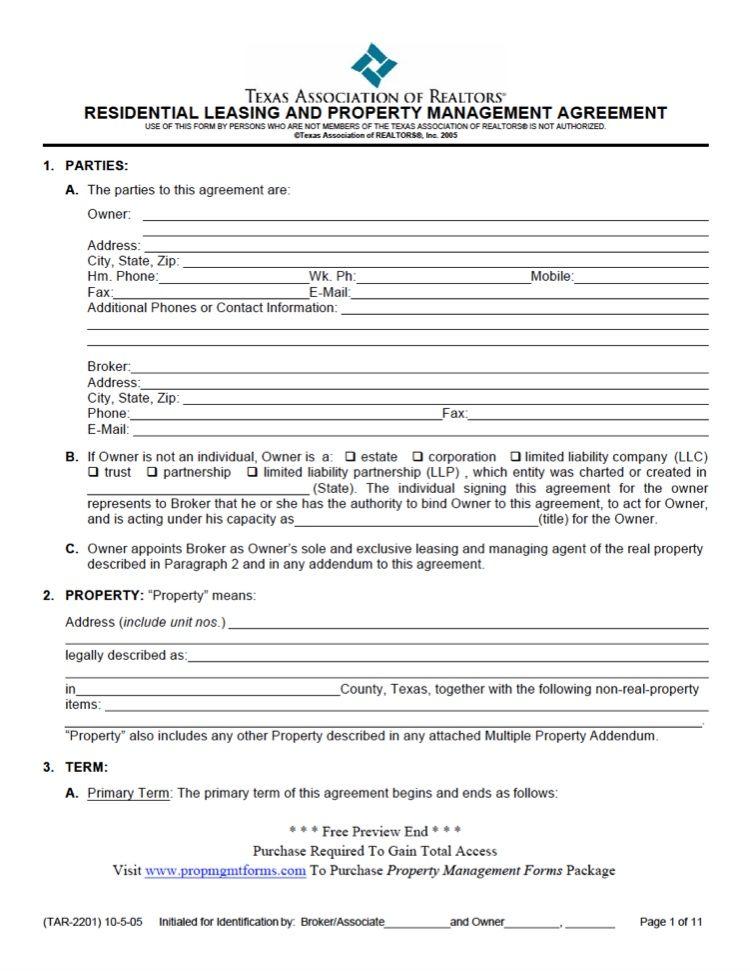 Texas Property Management Agreement Property Management