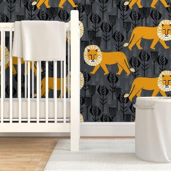 Orange Lion Wallpaper - Lion On Turmericcharcoal by andrea_lauren - Orange Grey Safari  Block Print