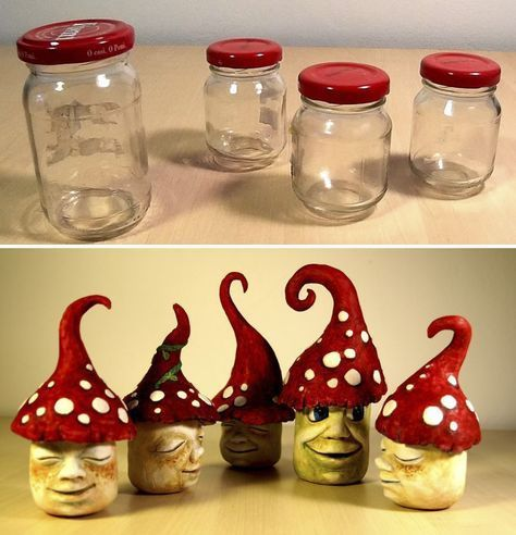 This is how I made some funny garden gnomes reusing some old jars, tin foil, hot glue, white air-hardening clay and watercolors. It's fun to make and you can use it as candy jar for a candy bar, birthday party, thank you gift for a baby shower, baby room decoration, piggy bank, jewlery box, cooky jar and so on.