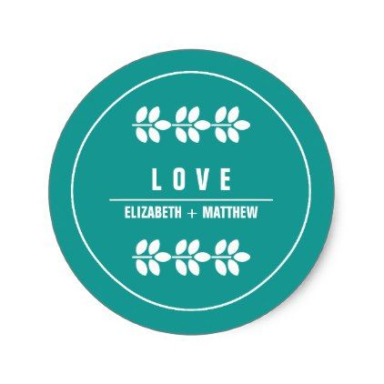 Turquoise | White Branches Wedding Favor Sticker