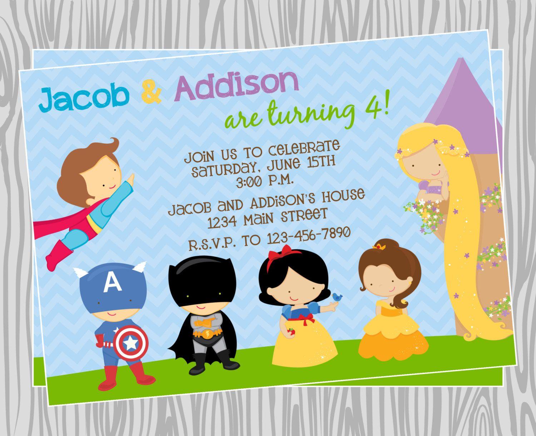 DIY - Princeses & Superheroes Birthday Party Invitation ...