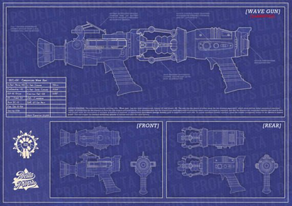 Black Ops Zombies WAVE GUN BLUEPRINTS Physical copy Bearu0027s Stuff - copy blueprint design & draft