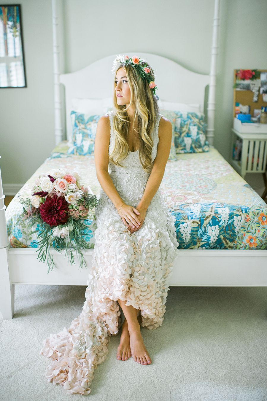 Weure majorly crushing on this brideus ombre blush petalcovered
