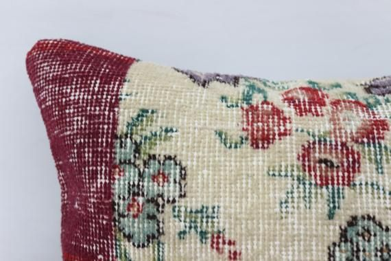 16x24 Natural Pillow, Gift Rug Pillow,Lumbar Pillow Covers, Red Pillow,Handwoven Pillow,Embroidered