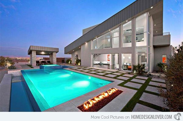15 Dramatic Modern Pool Areas with Fire Pits | Modern pools, Modern ...
