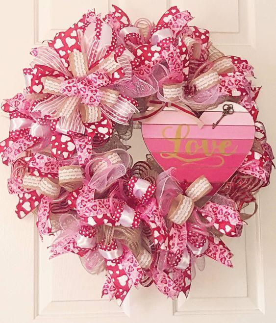 Rustic Valentine Wreath, Valentine\'s Day Wreath, Heart Wreath ...