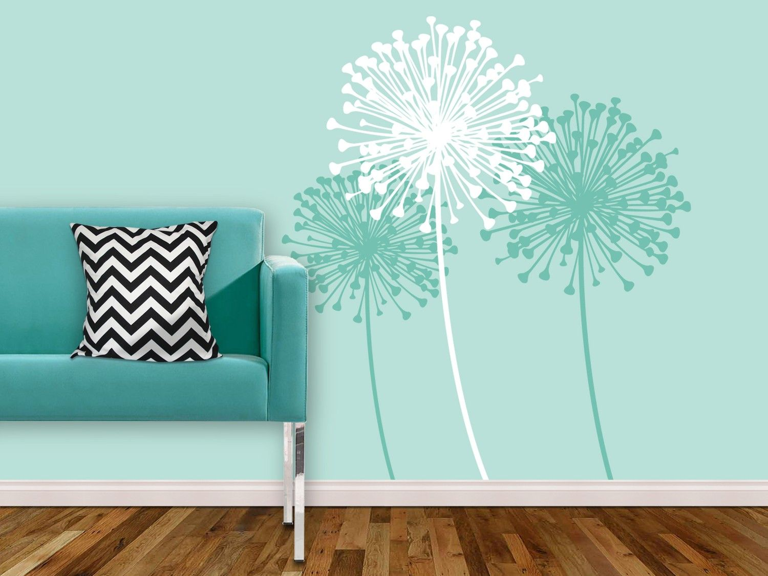 This wall color is perfect and the decals are fun too dandelion by kathwren vinyl wall decal