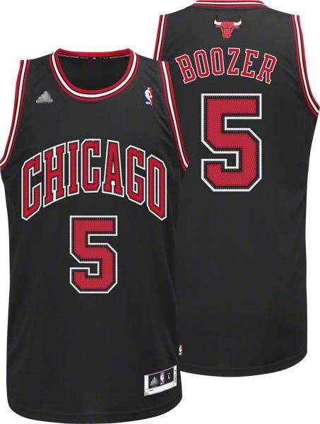 9832c2141 ... Revolution 30 Bulls 5 Carlos Boozer Black Embroidered NBA Jersey!