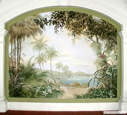 The Raffles Hotel, Singapore  Gorgeous murals by Carlo Marchiori