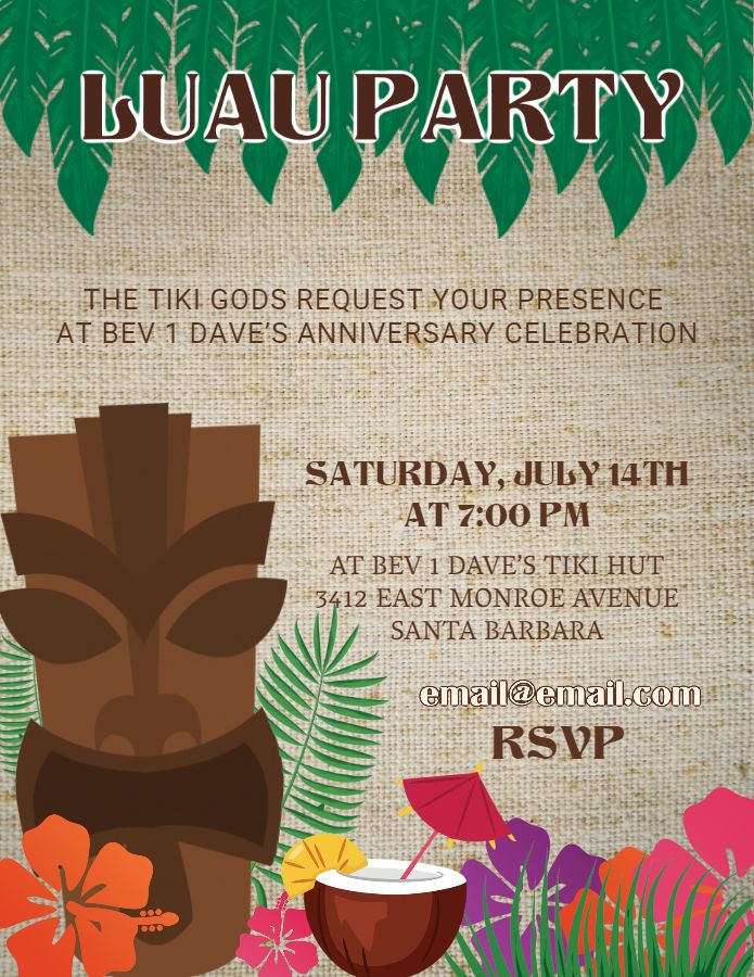 Luau Hawaii party invitation flyer template Luau Party Flyers - Invitation Flyer Template