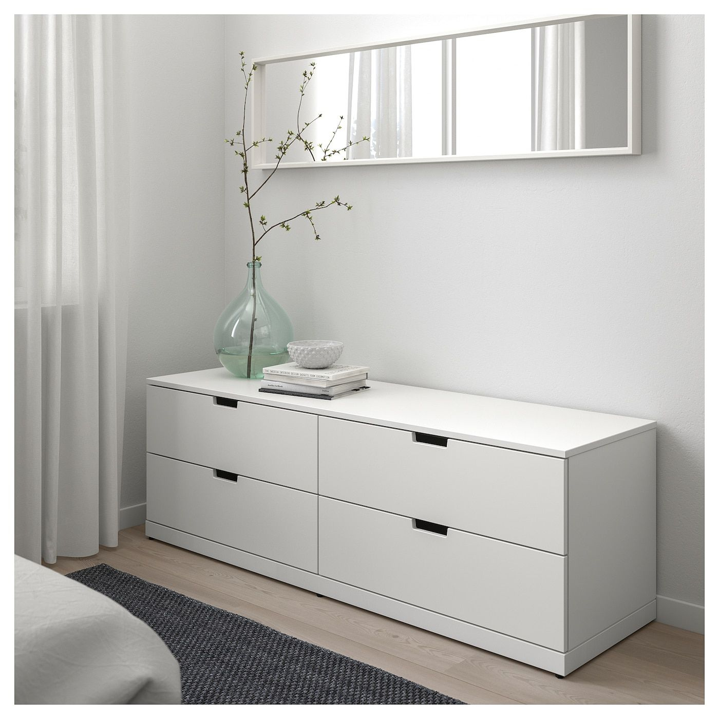 Nordli Kommode 4 Skuffer Hvid 160x54 Cm Ikea Ideer