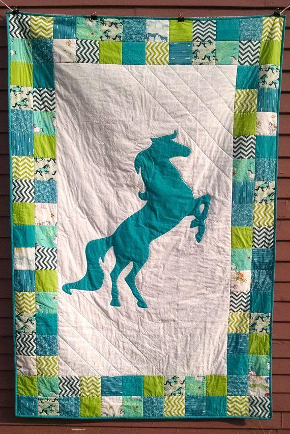 Scrappy Horse Quilt Horse Equestrian Handmade Quilts